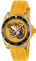 Gucci 40mm Dive Tiger Watch w/ Rubber Strap, Yellow