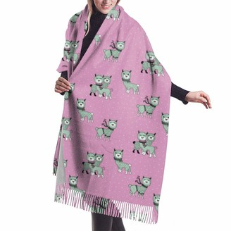 Asekngvo Christmas Llama Alpaca Winter Wonderland Snow Night Pink Mint Girls Shawl Wrap Winter Warm Scarf Cape Large Soft Cozy Cashmere Scarf Wrap Womans Warm Shawl Stole