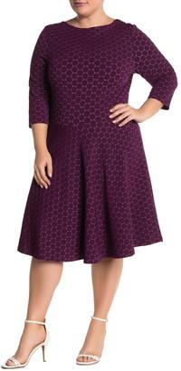 Leota Stretch Knit 3/4 Sleeve Fit & Flare Dress (Plus Size)