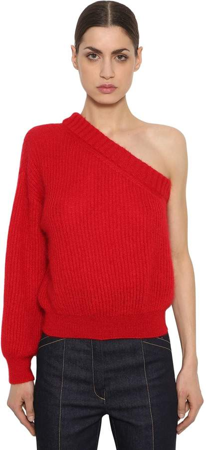 One Sleeve Mohair Blend Knit Sweater