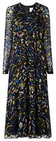 LK Bennett L.K.Bennett Ally Devore Silk Floral Dress, Yellow