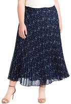 Chaps Plus Size Floral Pleated Georgette Skirt
