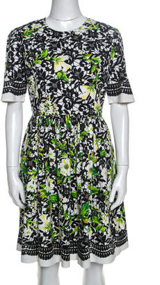 Oscar de la Renta Multicolor Printed Stretch Cotton Short Sleeve Dress L