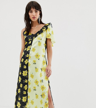 Dusty Daze asymmetric shoulder midi dress in contrast floral