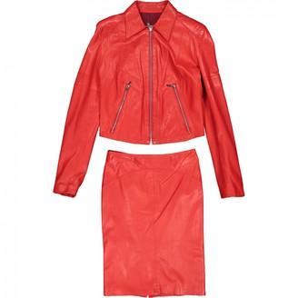 Gianni Versace Red Leather Leather Jacket for Women Vintage