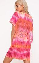 PrettyLittleThing Pink Tie Dye Tassel T Shirt Dress