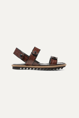 Dries Van Noten Croc-effect Leather Sandals - Brown