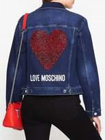 LOVE MOSCHINO Embellished Logo Denim Jacket