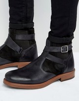 Asos Chelsea Boots In Black Leather With Faux Shearling Lining