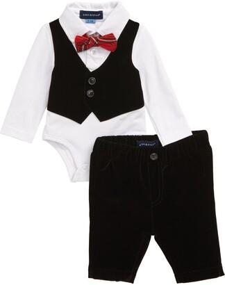Andy & Evan Velvet Vest Bodysuit & Pants Set