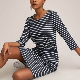 La Redoute Collections Striped Organic Cotton Dress with Drawstring and 3/4 Length Sleeves