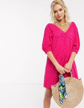 ASOS DESIGN broderie puff sleeve v front mini swing dress in pink