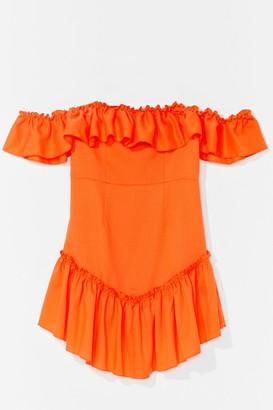 Nasty Gal Womens Frill Loving You Ruffle Mini Dress - Orange - 8