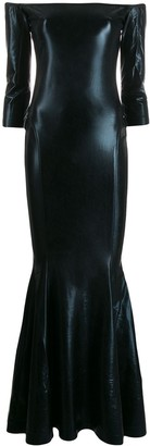 Norma Kamali Off Shoulder Sheen Maxi Dress