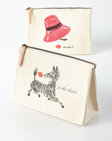 Parker Thatch Pink Hat Large Personalized Cosmetic Bag