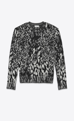 Saint Laurent Knitwear Tops Wool Sweater In All-over Leopard Jacquard Heather Grey L