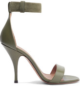 Givenchy Retra Suede-trimmed Leather Sandals - Army green