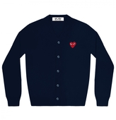 Comme des Garcons Navy V-Neck Cardigan With Red Heart