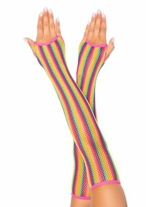 Leg Avenue Women's Rainbow Fishnet Arm Warmers O/S