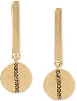 Kenneth Cole New York Gold-Tone Pavé Bar Disc Drop Earrings