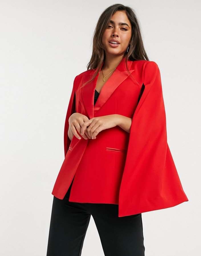 Thumbnail for your product : Forever U blazer co ord with satin trim in red