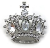 Princess Queen Crown Tiara Christian Cross Brooch Pin Wedding Bridesmaid Clear Rhinestones Jewelry