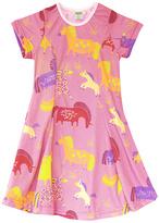 Urban Smalls Rose Fanciful Unicorn Print Dress - Toddler & Girls