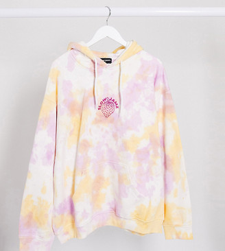 New Girl Order Curve oversized hoodie in tie dye with strawberry print