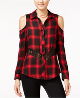 Material Girl Lace-Trim Cold-Shoulder Plaid Shirt, Only at Macy's