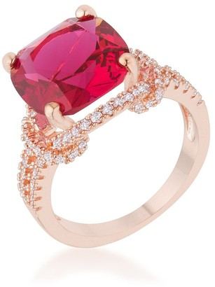 Kate Bissett Charlene Rose-goldplated 6.2-carat Ruby Cubic Zirconia Classic Statement Ring - White
