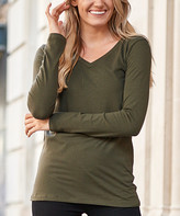 Zenana Women's Tee Shirts DK.OLIVE_IPB - Dark Olive Long-Sleeve V-Neck Tee - Women & Plus
