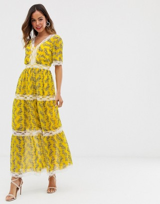 Asos DESIGN lace insert tiered maxi dress in paisley print