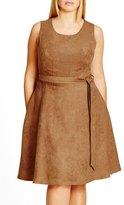 City Chic Faux Suede Fit & Flare Dress (Plus Size)