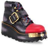 Prada Lug Sole Buckle Leather Wedge Booties