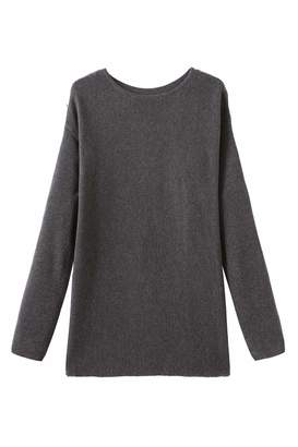 Melange Home Fancy Stitch Women's Crewneck Loose Knitted Cashmere Sweater Grey