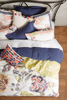 Anthropologie Woodblock Floral Euro Sham