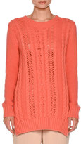 Agnona Vented Cable-Knit Pullover Sweater, Coral Pink