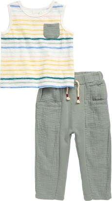 Peek Aren't You Curious Zeus Ganguin Stripe Tank & Mixed Media Pants Set