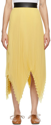 Loewe Yellow Pleated Asymmetric Skirt