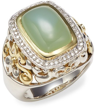Charles Krypell Two-Tone Green Onyx Diamond Statement Ring