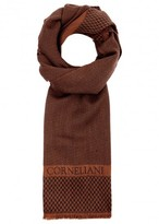 Corneliani Tawny Herringbone Wool Blend Scarf