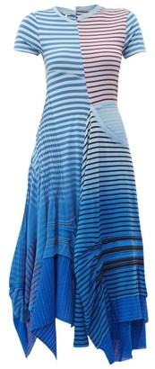 Loewe Asymmetric Tie-dye Stripe Cotton-blend Dress - Blue Multi