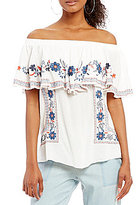 Takara Off-The-Shoulder Embroidered Top