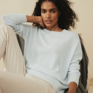 The White Company Cashmere Sweater, Pale Blue Marl, Extra Small