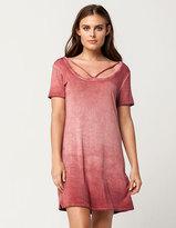 Full Tilt Cross Front Washed T-Shirt Dress