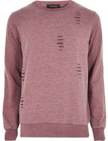 River Island Mens Red ripped crew neck sweatshirt
