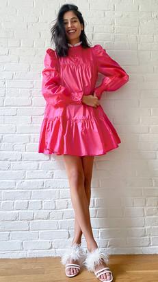 AVAVAV Ruffle Long Sleeve Lace Collar Dress