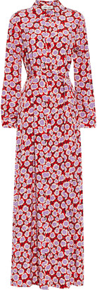 Diane von Furstenberg Amina Belted Printed Silk Crepe De Chine Maxi Shirt Dress