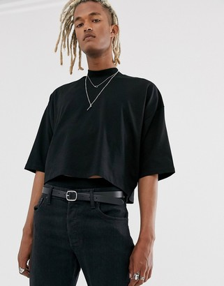 Asos Design DESIGN oversized crop t-shirt with mid sleeve and high neck in black