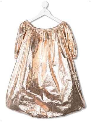 Andorine Wrinkled-Effect Metallized Dress